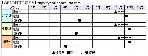 ソラマメ栽培カレンダー